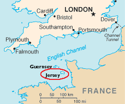 Jersey on Channel Islands Map