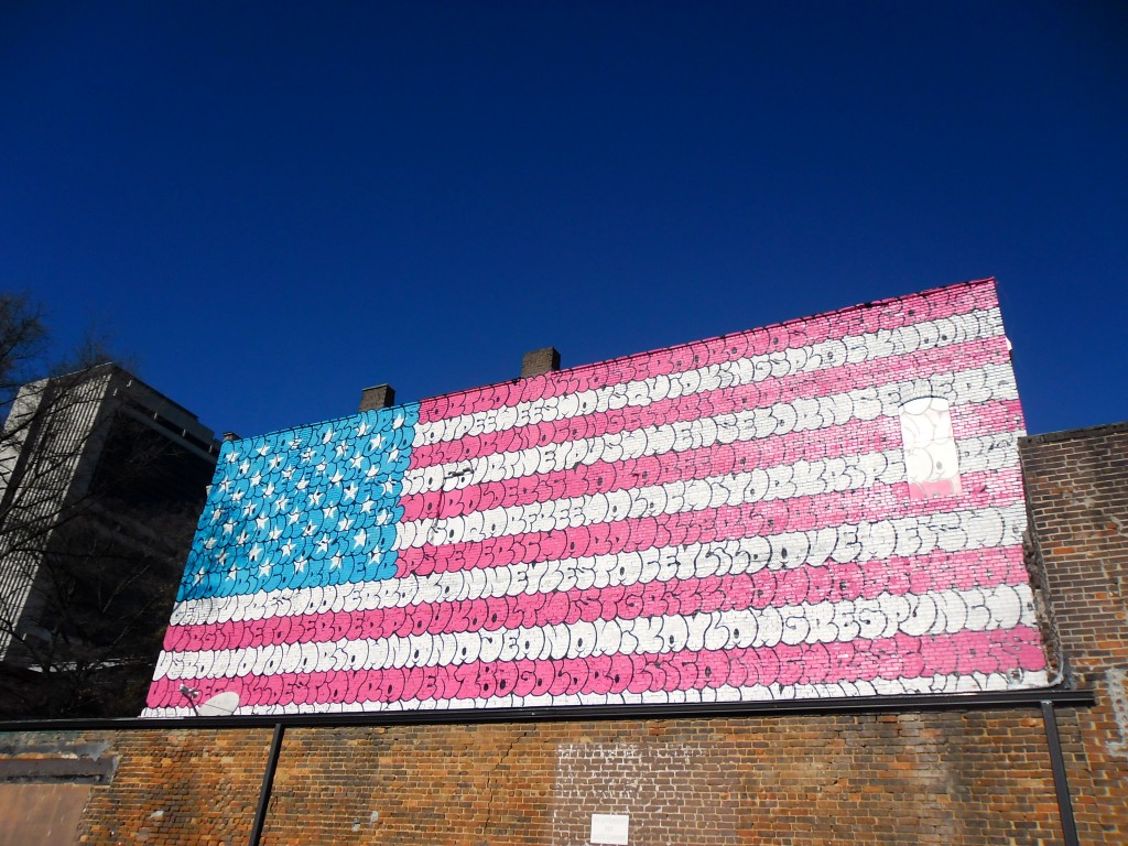 downtown Atlanta street art US flag