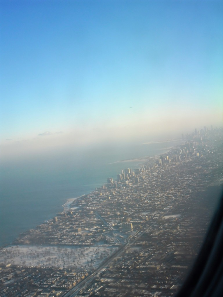 Chicago from the plane Lake Michigan