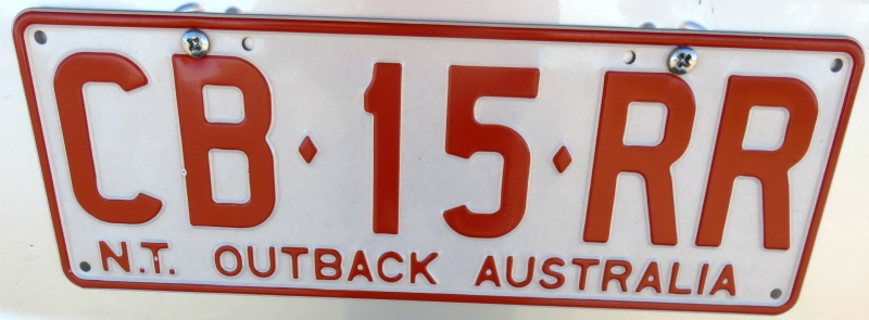 Licence plate Outback Australia