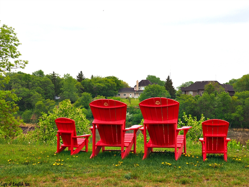 Parks Canada red chairs Lower Fort Garry MB