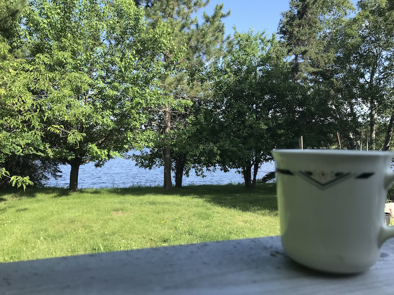 Coffee with a lake view